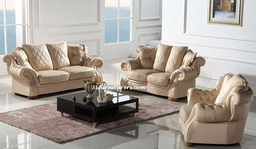 Cream Italian Leather Sofa Versace Living Room Furniture