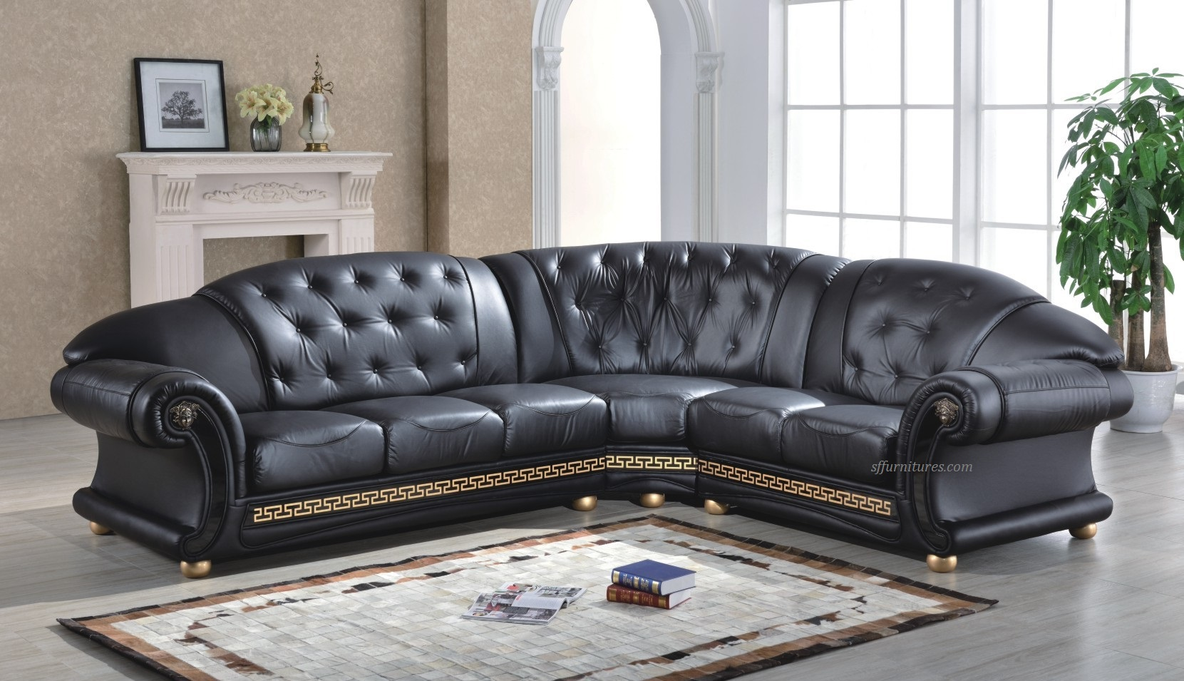 Medusa Italian Design Corner Leather Sofa   The Versace Design
