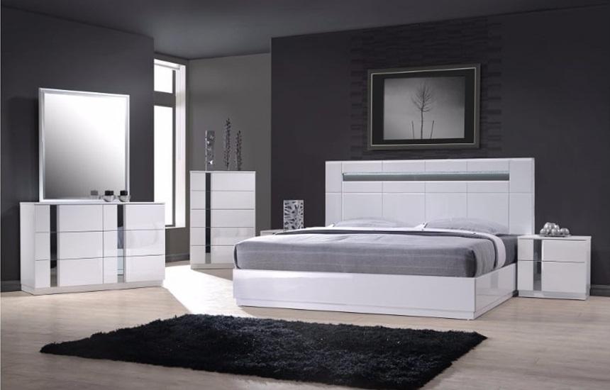 Chelsea White Gloss Bedroom, Modern White Gloss Bedroom Furniture Uk