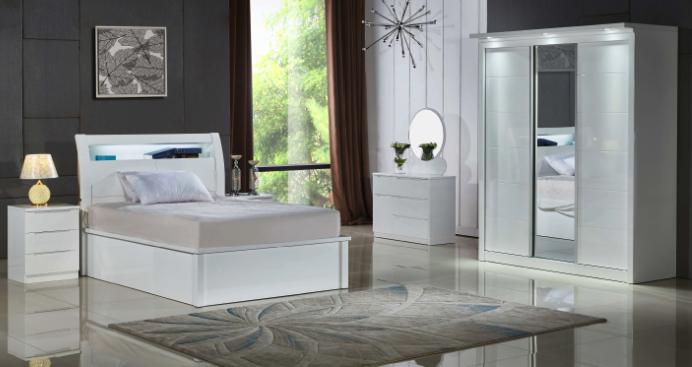 Italian furnitures - Rugby LED white bedroom